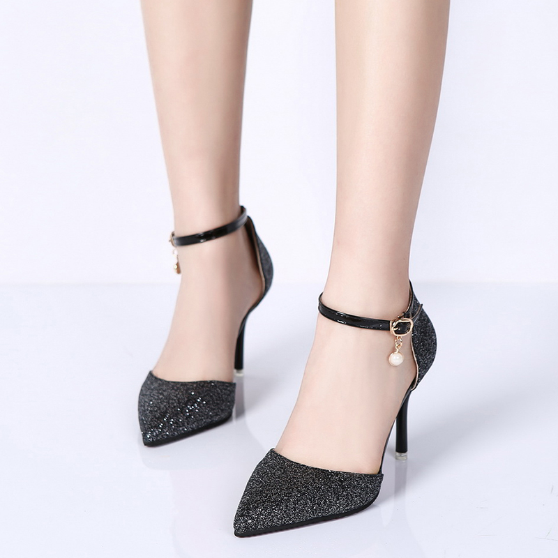 Rimocy elegant ladies shinning glitter gold silver pumps 2019 sexy pointed toe high heels ankle strap wedding party shoes woman 3