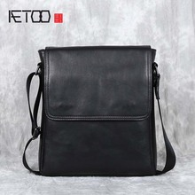 AETOO New casual leather men's bag first layer cowhide shoul