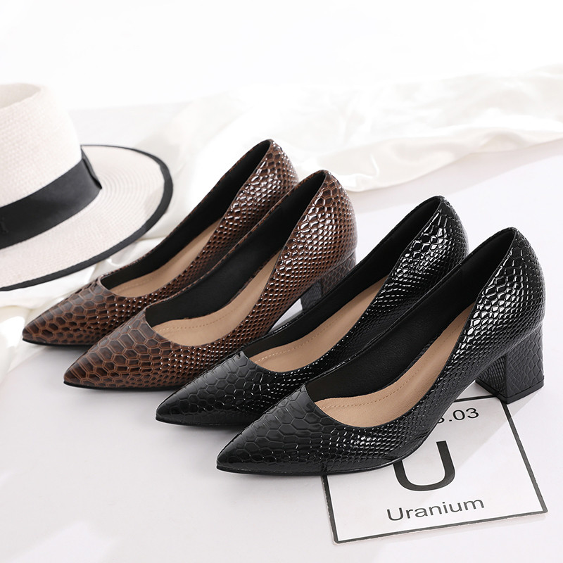 2020 New Women's Pumps Shoes Thick Heels Single Female Pumps Shoes Woman Korean Crocodile Pattern Leather Office Lady Work Shoes (11)
