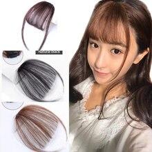 Buqi franja de cabelo sintético reto, extensão de cabelo sintético com franja frontal, acessórios para cabelo de mulheres adultas