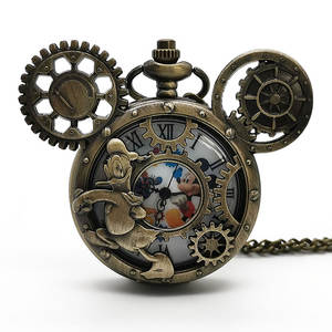 Vintage Pendant Case Necklace Pocket-Watch Steampunk Quartz Best-Gifts Classical Children