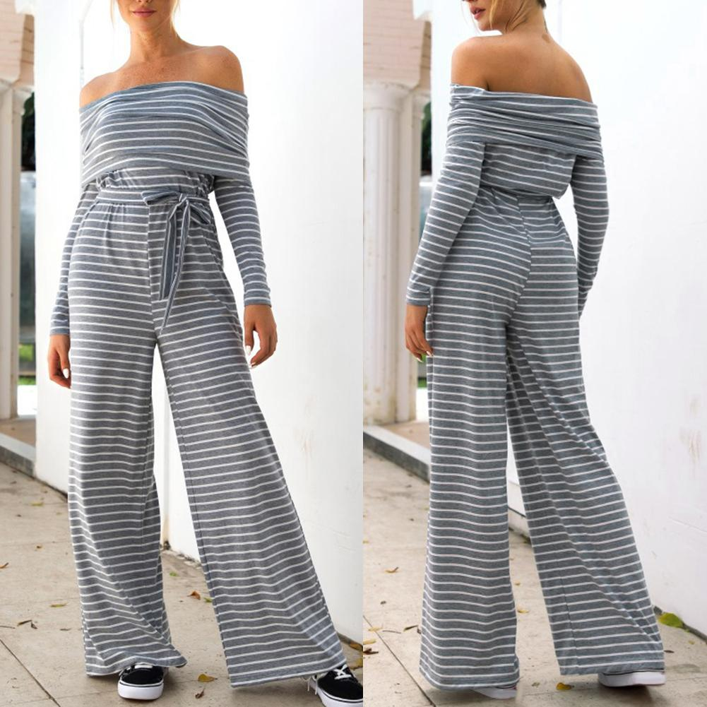 Elegant Striped  Rompers Women Long Sleeve  Casual Wide Legs Jumpsuit One-shoulder striped print lace-up long-sleeved jumpsuit