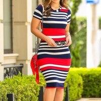 Women Bodycon Dress Sexy Slim Color Stripe Dress O Neck Elegant Summer 2019 Street Style Short Sleeve Casual Dresses