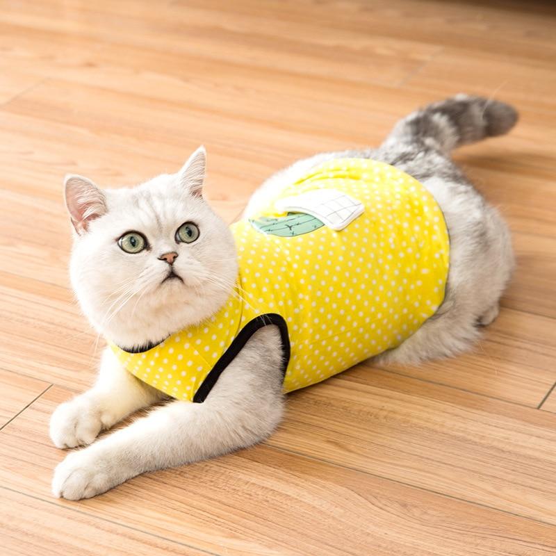 Summer Cat Vest Cute Three-dimensional Flower Pot Thin Anti-Falling Breathable Cat Dot Pure Color Cotton Pet Clothes
