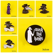 Enamel Pin Plague Doctor Pattern Metal Badges Pins and Brooches for Women Men Lapel pin Creative Gift backpack bags badge jacket