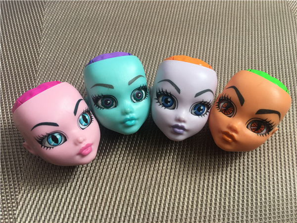 Original No Hair Doll Heads Monstering Doll Toy Head Change Eyes Color When Press Click Kids DIY Dressing Toys Parts Party Gifts