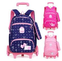 Mochila con ruedas escolares para niños, bolso escolar con carro, mochila de viaje con ruedas