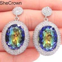 Dazzling Big Heavy 16.7g 20x15mm Oval Fire Rainbow Mystic Topaz Natural CZ Womans Silver Earrings 40x22mm