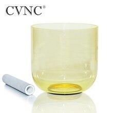 "Cvnc 432Hz 4 Octaaf 7 ""Licht Geel Clear Quartz Crystal Klankschaal"