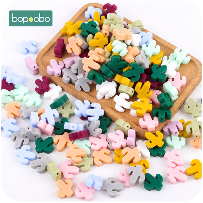 Bopoobo  Silicone Cactus Baby Teether 20PCS BPA Free  Rattle Toys Silicone Teething Rodent Baby Gifts Tiny Rod Baby Products