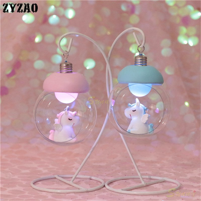 Resin Moon Unicorn LED Night Light Cartoon Baby Nursery Lamp Children Toy Girls Christmas Gift Kids Room Decor Craft Table Light