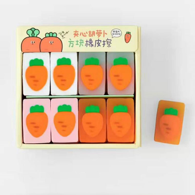 1 Pcs Kawaii Jelly Color Vegetable Carrot Rubber Pencil Erasers Correction Eraser Kids Students Gifts School Office Stationery