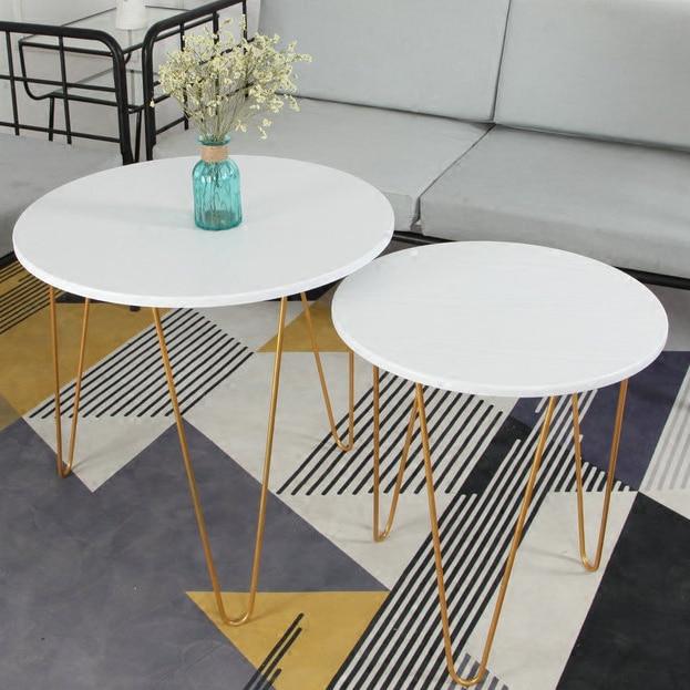 Golden Iron Metal Coffee Table Sofa