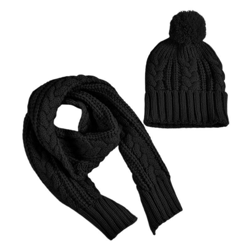 2020 Fashion Women Winter Chunky Braided Cable Knit Hat Scarf Set Cuffed Beanie Cap Shawl
