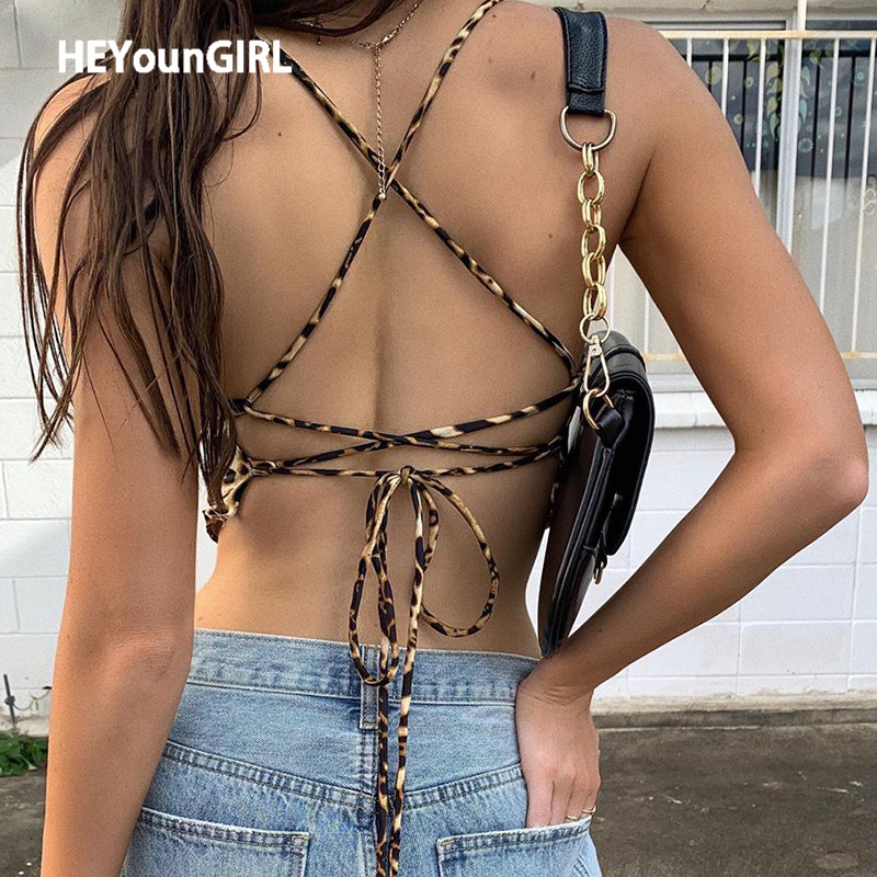 HEYounGIRL Cross Bandage Sleeveless Sexy Camis Tops Summer Leopard Printed Backless Crop Top Streetwear Fashion Tops Tees Party