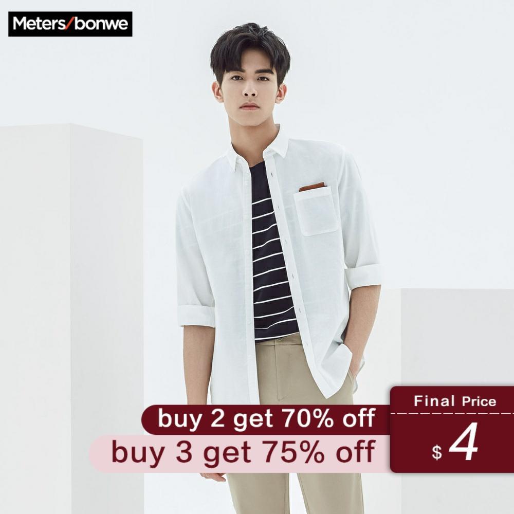 Metersbonwe Men Short Sleeve Shirt Cotton Linen For Male 2019 New Trend Summer Solid Color Shirt Casual Shirt рубашка мужская