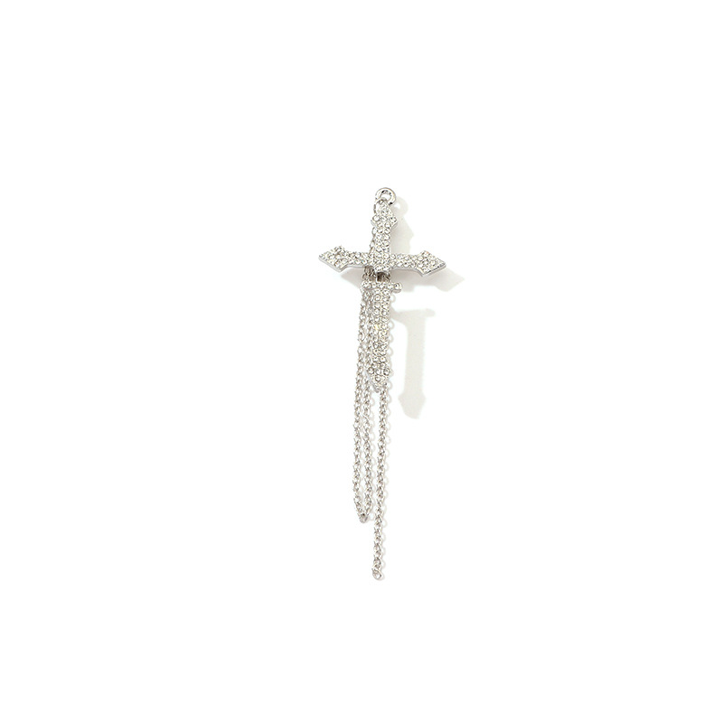 Купить с кэшбэком Single Crucifix Earrings Girls Fashion Cross Earrings Creative Rhinestone Cuff Long Chain Drop Earrings Jewelry For Womens