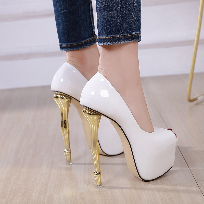 2020 High Heel 18 Cm Women Peep Toe Platform Heels Pumps Sexy Hip Heel Ladies Shoes White High Heels Club Girl Shoes Size 40