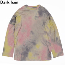 Dark Icon Tie Dyeing T-shirt Long Sleeve Men Women Round Neck Loose Relax Tshirts Cotton Tee Shirts Streetwear Clothing(China)