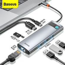 Baseus USB C HUB to HDMI-compatible Adapter RJ45 Card Reader USB 3.0 PD 100W Type C Docking Station For Macbook Pro Surface iPad