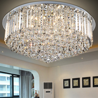 Gran oferta  candelabro redondo de cristal flushmount K9  lámpara LED minimalista moderna  candelabros para sala de estar y dormitorio