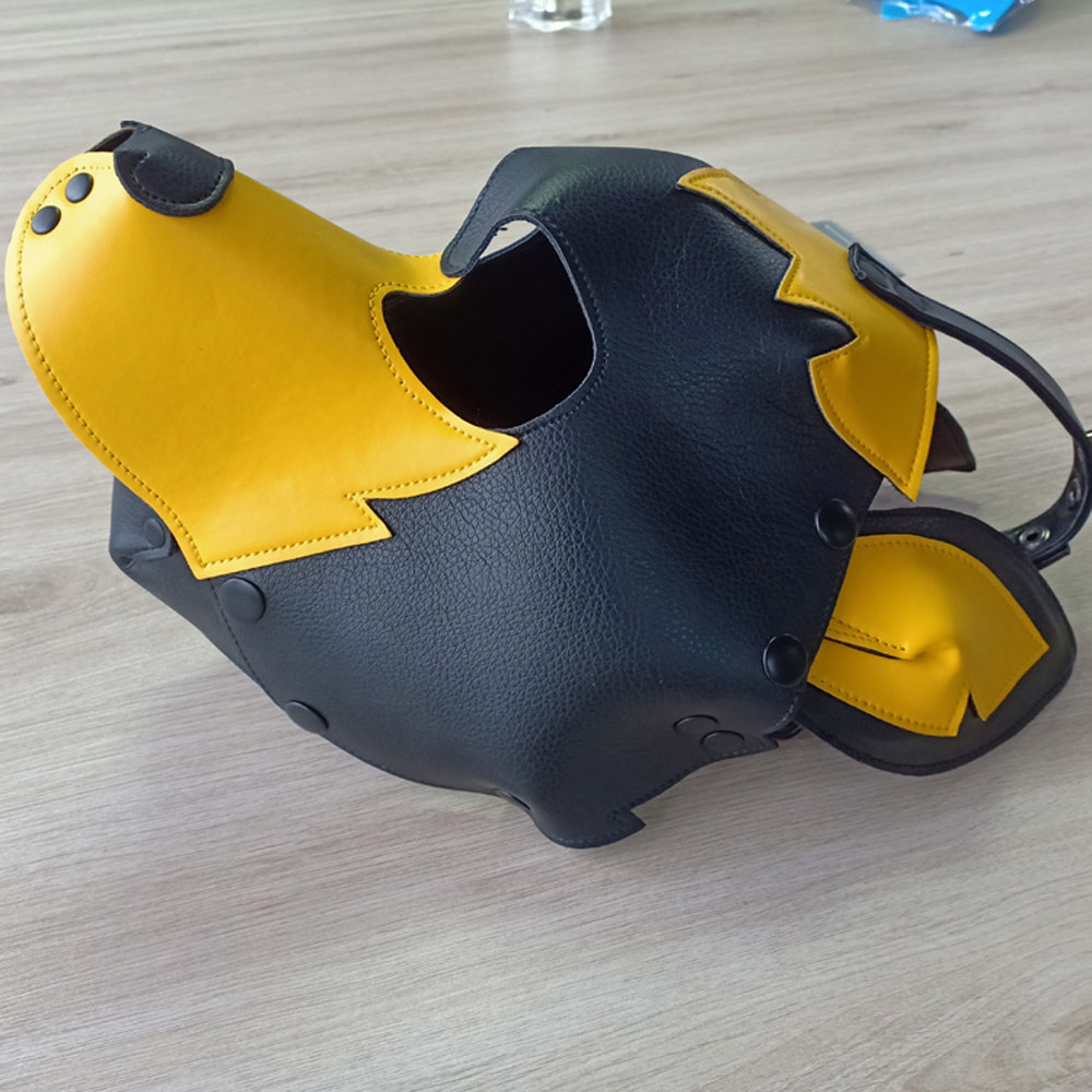 Drop Shipping PU Pet Role <font><b>Mask</b></font> Yellow <font><b>Sexy</b></font> Toy Puppy Play Dog Cosplay <font><b>Masks</b></font> <font><b>Halloween</b></font> Party Event Fetish Sex Hood Accessories image