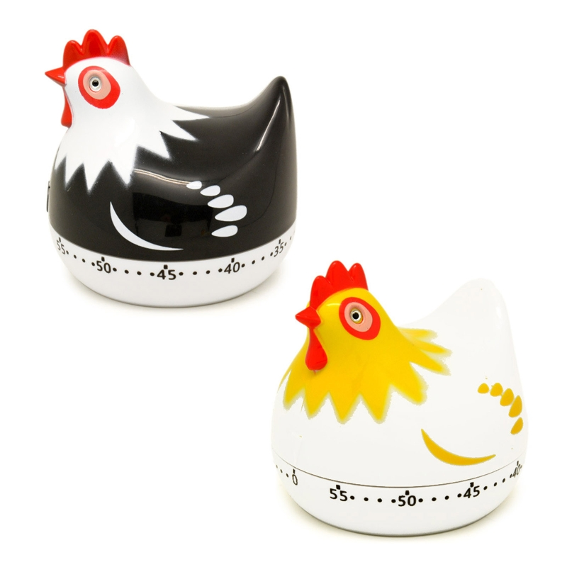 55 Minutes Novelty Chicken Kitchen Timer Mechanical Rotating Alarm for Cooking