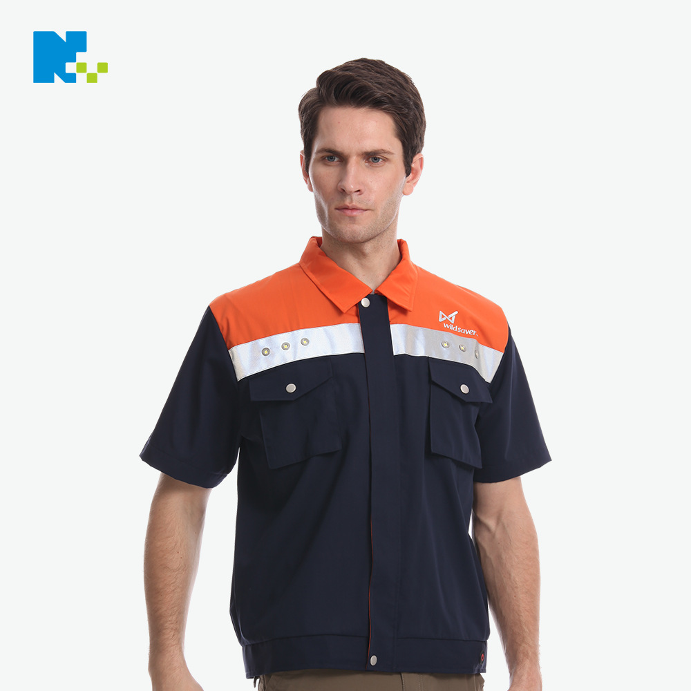 New Style Labor Safety Waistcoat Safe Protective Clothing Logistics Express LED Short Sleeve Workwear Customizable Workers Work