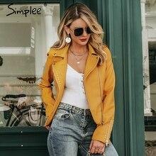 Simplee jaqueta de couro do falso das mulheres com zíper manga longa outwear casaco de couro assimétrico motocicleta feminina jaqueta básica casaco