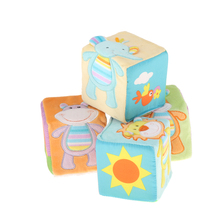 4Pcs Cube Baby Rattles with Patterns Animals and Letters - Kids Early Sensory Educational Toys