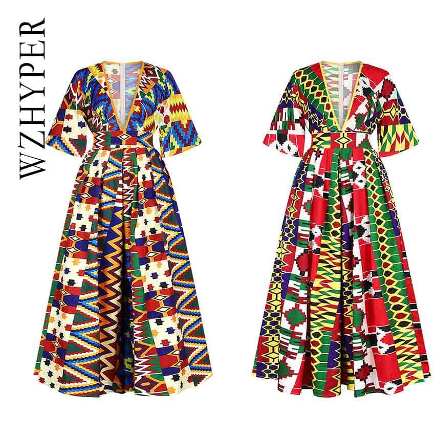 Dashiki African Dresses For Women Ankara Dresses  Deep V Neck Backless Zip 3D Print Ethnic Dresses Fashion Night Club Robe