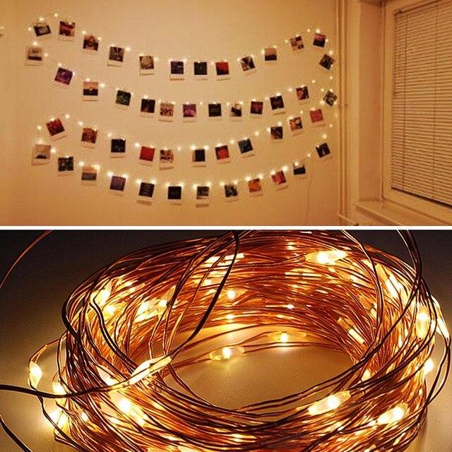 2M/5M/10M klips do zdjęć USB girlanda żarówkowa LED Lights lampki zewnętrzne zasilanie bateryjne Garland świąteczne dekoracje pokój wesele
