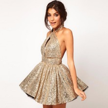 Abiye Bling Sequins Cocktail Dresses Short Prom Party Gowns Abendkleider Halter Formal Dress robe de soiree Sexy Sleeveless