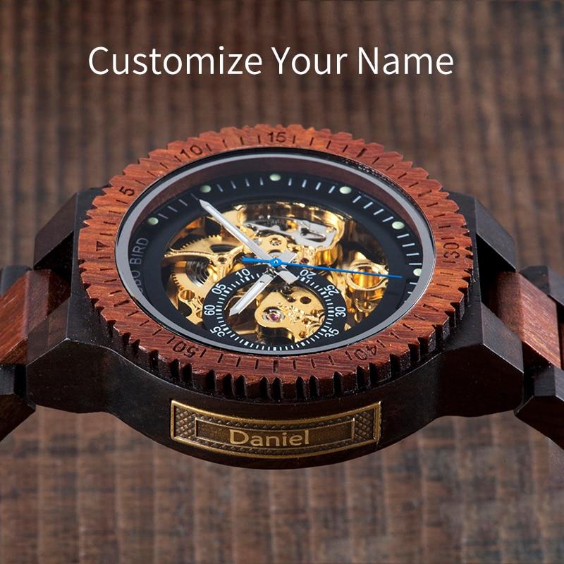 BOBO BIRD Automatic Wood Watch Customize Name Men Wristwatch Luminous Hand Waterproof In Wooden Gift Box