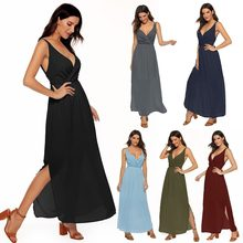 Europe large size women's chiffon dresses sexy backless fashion simple elastic waist pullover solid color ladies dresses V-neck(China)