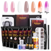 BURANO Deluxe Poly Nail Gel Starter Kit with 7 Color Builder Gel, 3 Boxes Glitter Nail Sequins, AB Crystal Rhinestones, Temperature Color Changing Extension Nail Art Enhancement Kit with Slip Solution