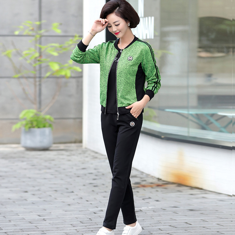 Middle-aged Mom Sports WOMEN'S Suit Spring And Autumn Coat 2018 New Style 40-Year-Old 50 Middle-aged Large Size Leisure Suit