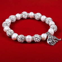 Charm Friendship Bracelets 100% Natural Freshwater Pearl Bracelet 8-9 Mm Elephant with Ball Jewelry for Women