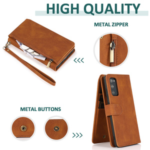 Image 4 - Luxury Zipper Wallet Case For Samsung Galaxy S21 S20 FE S10E S9 Ultra Plus Note 20 10 9 Leather Card Flip Stand Phone Bag Cover
