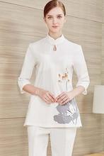 Высокая-конец медсестры носят с короткими рукавами и летних логотип китайской одежды подгонянные салон красоты одежда