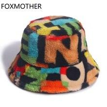 Bucket-Hats Rainbow Faux-Fur Winter Women Soft New Warm Multicolor Outdoor Letter Gorros