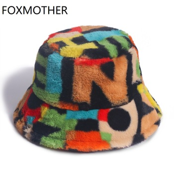 FOXMOTHER New Outdoor Multicolor Rainbow Faux Fur Letter Pattern Bucket Hats Women Winter Soft Warm Gorros Mujer