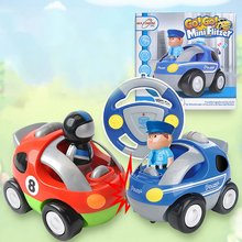 цена на Mini Cartoon Remote Control Car Steering Wheel Electric Racing Toy Music Lighting Party Children Cute Remote Control Car
