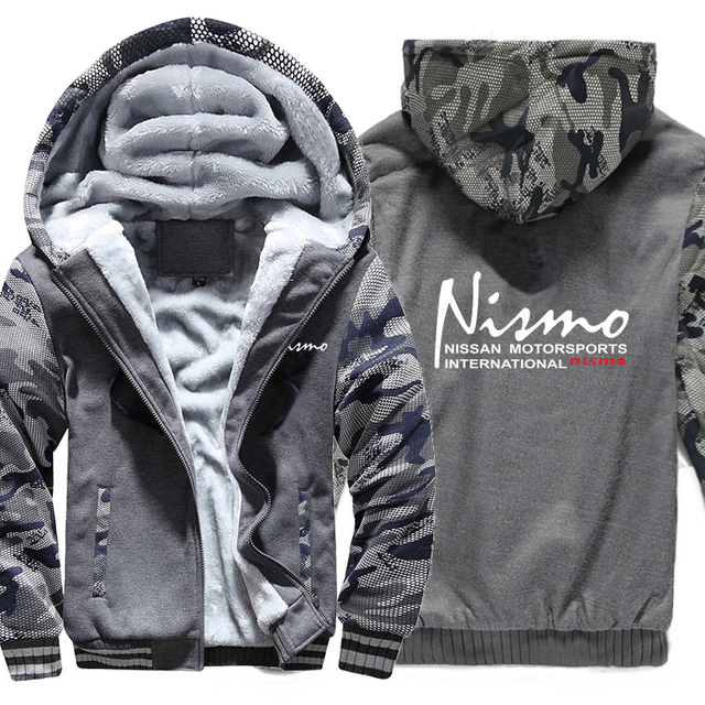 Nissan Nismo Hoodies Camouflage sleeve Jacket Hoody Zipper Winter Fleece Nissan Nismo Sweatshirt