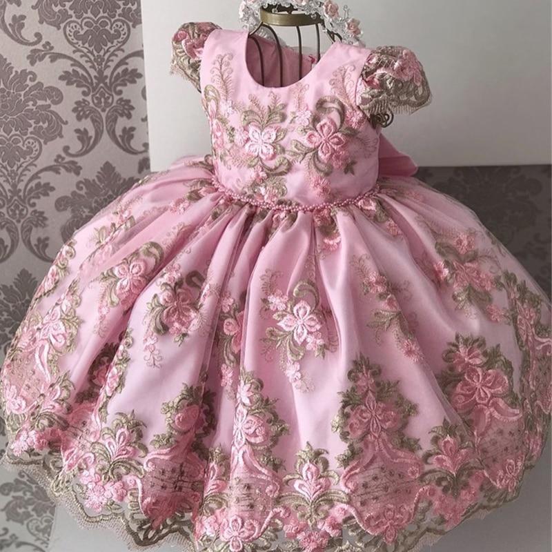 Kids Birthday Princess Party Dress for Girls Flower Bridesmaid Elegant Dress Children Wedding Party Formal Dress Prom Gown 3-10T 3