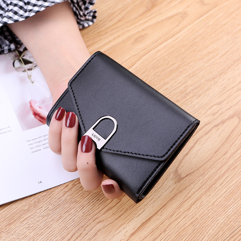 2019 High Quality PU Leather Wallet Women Metal Charm Small Purse Wallet Female Coin Purse Wallet Hasp Photo Slot
