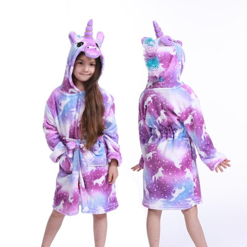 Children Bath Robe Baby Towel Children's Star Unicorn Hooded Bathrobes For Boys Girls Pajamas Kids Sleepwear Robe 3-11T