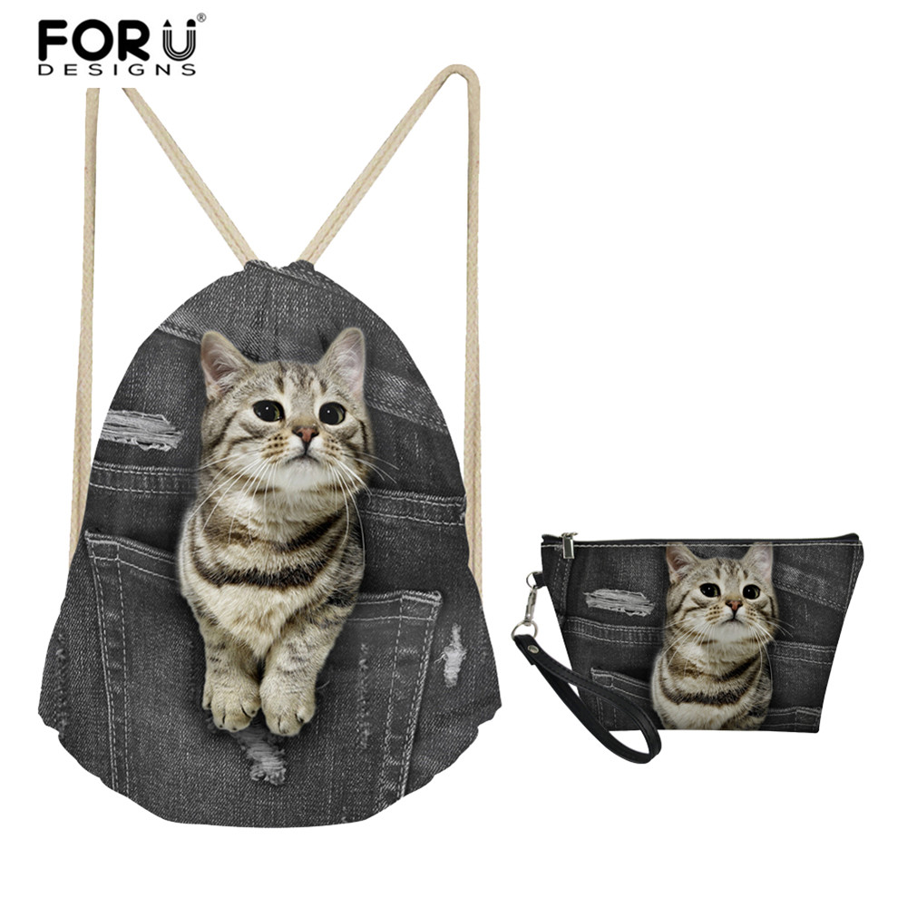 FORUDESIGNS Drawstring Bag 2 Piece Set Black Cowboy Lovely Cat Pattern Women Light Travel Bags Rucksack Girls School Bags Bags