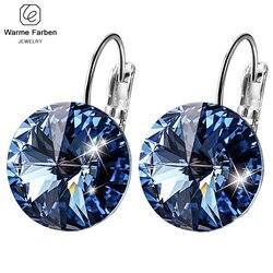 Женские сережки Warme Farben, сережки с кристаллами Swarovski, круглые серьги с камнями, серебро 925 пробы, ювелирное изделие, подарок для леди