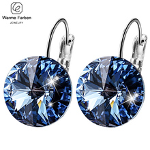 Warme Farben Embellished with Crystals from Swarovski Round Stone Drop Earring Silver 925 Jewelry Earring Gift for lady